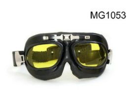 yellow lens leather sports goggles motorcycle